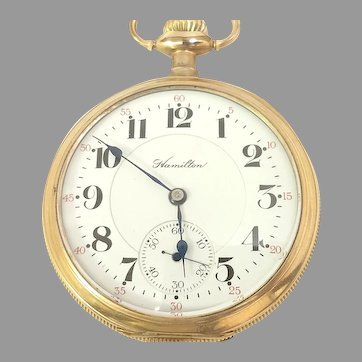 Antique Collectible Hamilton Pocket Watch 17 jewels, 16s, Grade 978 Yellow Gold Filled Circa(1913) Running and Accurate