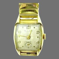 Vintage Bulova Man's Curvex Wristwatch 17 Jewels, Bezel 10kt Rolled Gold Plate, Manual Wind Circa 1951(WAT10336) Running and Accurate on SALE thru 4/29/2021