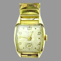 Vintage Bulova Man's Curvex Wristwatch 17 Jewels, Bezel 10kt Rolled Gold Plate, Manual Wind Circa 1951(WAT10336) Running and Accurate