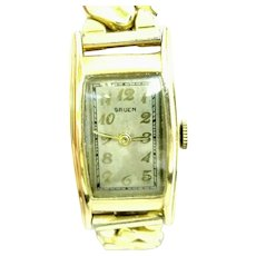 Vintage Gruen Curvex Swiss made 7 jewels 10kt gold filled Case Circa 1936(WAT10353) Serviced, Running and Accurate