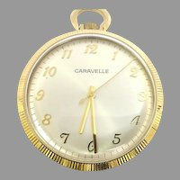 Vintage Caravelle Pocket Watch 7 jewels, 12s, Circa 1978 (WAT10378) Serviced, Running and Accurate on SALE Great Piece!