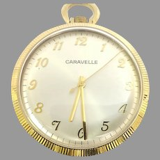 Vintage Caravelle Pocket Watch 7 jewels, 12s, Circa 1978 (WAT10378) Serviced, Running and Accurate