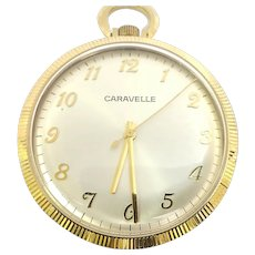 Vintage Caravelle Pocket Watch 7 jewels, 12s, Circa 1978 (WAT10378) Serviced, Running and Accurate on SALE Thru 12-03-2020