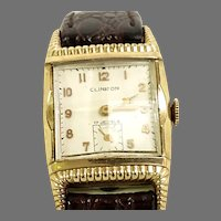 Vintage Rare Clinton Manual Wind 17 Jewel Swiss 10kt Rolled Gold Plate Leather band Circa 1951(WAT10383) Running and Accurate on SALE thru 4-27-2021