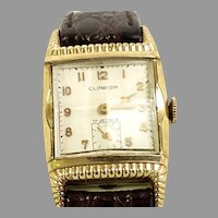 Vintage Rare Clinton Manual Wind 17 Jewel Swiss 10kt Rolled Gold Plate Leather band Circa 1951(WAT10383) Running and Accurate on SALE Great Vntage Piece
