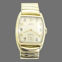 Vintage Elgin 555 Man's Wrist Watch with Expansion Band 17 jewels, 10 kt gold filled Case, Circa 1945(WAT10384) Running and Accurate