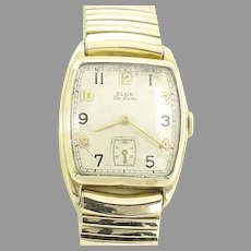 Vintage Elgin 555 Man's Wrist Watch with Expansion Band 17 jewels, 10 kt gold filled Case, Circa 1945(WAT10384) Running and Accurate on SALE Great Vntage Piece