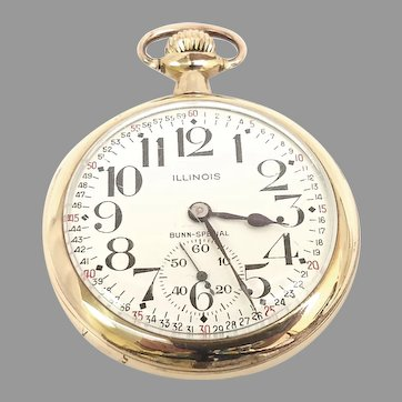 Antique Illinois Bunn Special Railroad Pocket Watch 16s, 21 jewels Gold filled, Lever set, Circa 1920(WAT10389) Running very Accurate and in Excellent Condition