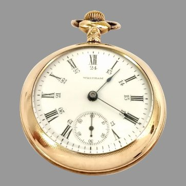 Antique Waltham Pocket Watch 18s, 15 jewel, 24Hr Roman Numeral Dial, Gold Filled Case Circa 1906(WAT10390) Running and Accurate
