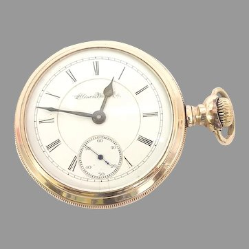 Antique Illinois Railroad Grade Open Face Pocket Watch 15 jewels, 18s, Yellow Gold Filled Circa 1883(WAT10391) Running and Accurate