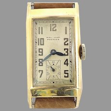 Waltham Premier 21 Jewels Curvex Style Wrist Watch, Authentic Vintage Circa 1938 (WAT10392) Running and Accurate on SALE Great Piece