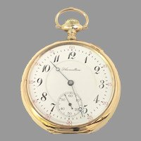Antique Hamilton 974 Rail Road Grade Pocket Watch Gold Filled 17 jewels, 16s Circa 1910 (WAT10394) Running and Accurate on SALE thru 12-3-2020