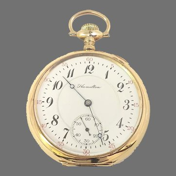 Antique Hamilton 974 Rail Road Grade Pocket Watch Gold Filled 17 jewels, 16s Circa 1910 (WAT10394) Running and Accurate