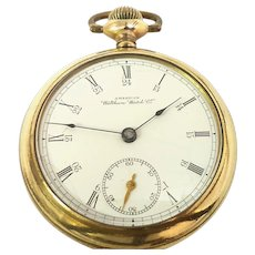 Antique Waltham Pocket Watch Great Engraving, 7 jewels 18s Open Face Gold Filled Circa(1892) WAT10396 24 hour Dial, Accurate and Running