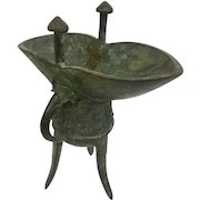 Ancient Chinese Jue Wine Vessel Bronze: A Ritual Vessel From Approx. 1400AD (OTH10295)