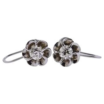 Lovely 14k Gold Antique 0.60 cttw Mine Cut Diamond Studs/ Earrings with Floral Setting