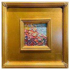 """Abstract Impasto Palette"", Original Oil Painting by artist Sarah Kadlic, 10""x11"" Gilt Leaf Wood Frame"