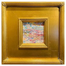 """Abstract Impasto Palette"", Original Oil Painting by artist Sarah Kadlic, 10""x11"" Gilt Leaf Wood Frame"