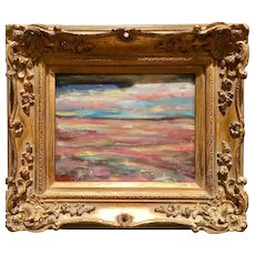 """Abstract Impasto Landscape"", Original Oil Painting by artist Sarah Kadlic, Gilt Framed 8x10"""