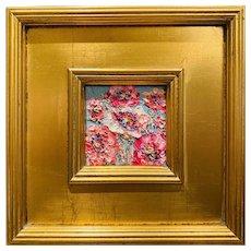 """Abstract Impasto Floral"" Original Oil Painting by artist Sarah Kadlic, 10"" x 10"" Gilt Leaf Frame"
