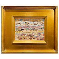 """Abstract Impasto Tuscany Landscape "", Original Oil Painting by artist Sarah Kadlic, Gilt Leaf Wood Frame 10x10"""