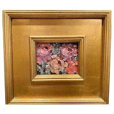 """Still Life Floral"", Original Oil Painting by artist Sarah Kadlic, Gilt Leaf 10"" Wood Frame"
