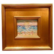 """Abstract Beach Seascape "", Original Oil Painting by artist Sarah Kadlic, 10x11"" Gilt Wood Framed"
