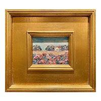 """Abstract Tuscany Landscape "", Original Oil Painting by artist Sarah Kadlic, 10x11"" Gilt Leaf Framed"