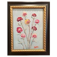 """Wildflowers Grouping"", Original Oil Painting by artist Sarah Kadlic, 12x16"" Gilt Leaf Wood Frame"