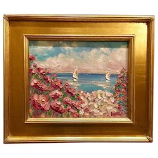 """Pink Floral Beach Seascape"", Original Oil Painting by artist Sarah Kadlic, 11x14 plus Gilt Leaf Gold Frame"