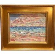 """Abstract Seascape Impasto"", Original Sarah Kadlic Oil Painting, 11x14, Gilt Wood Frame"