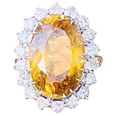 Stunning Estate Platinum 11ct Citrine 1.22ct Diamond Halo Ballerina Ring