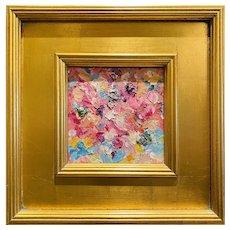 """Abstract Impasto Floral Landscape"", Original Oil Painting by artist Sarah Kadlic, 12"" Gilt Leaf Wood Frame"