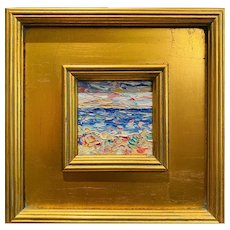 """Abstract Impasto Seascape"", Original Oil Painting by artist Sarah Kadlic, 12""x11"" Gilt Leaf Wood Frame"