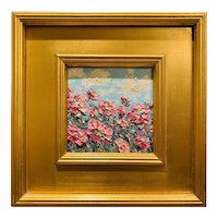 """Impressionist Impasto Flower Field"", Original Oil Painting by artist Sarah Kadlic, 12""x12"" Gilt Leaf Wood Frame"