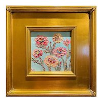 """Abstract Floral Impasto"", Original Oil Painting by artist Sarah Kadlic, 12"" Gilt Leaf Framed"