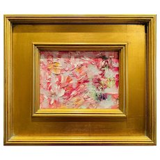 """Abstract Impasto Pinks"", Original Oil Painting by artist Sarah Kadlic, 12""x11"" Gilt Leaf Framed"
