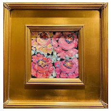 """Abstract Floral on Black"", Original Oil Painting by artist Sarah Kadlic, 12"" Gilt Leaf Wood Frame"