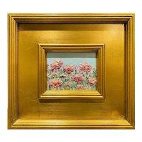 """Abstract Impasto Wildflowers"", Original Oil Painting by artist Sarah Kadlic, 10x12"" Gilt Leaf Wood Frame"