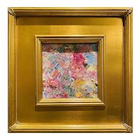 """Abstract Impasto Texture"", Original Oil Painting by artist Sarah Kadlic, 12"" Gilt Leaf Wood Frame"