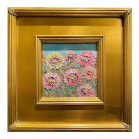 """Abstract Impasto Wildflowers "", Original Oil Painting by artist Sarah Kadlic, 12""x12"" Gilt Leaf Wood Frame"