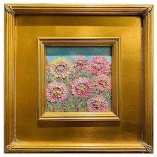 """Abstract Impasto Wildflowers "", Original Oil Painting by artist Sarah Kadlic, 12""x12"" Gilt Leaf Wood Frame"