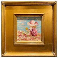 """""""Young Girl Playing in The Sand"""", Original Oil Figure Painting by artist Sarah Kadlic."""