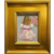 """Abstract Impasto Girl Child With Flowers"", Original Oil Painting by artist Sarah Kadlic, 12"" x 11"" Gilt Leaf Frame"