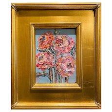 """Abstract Impasto Florals"", Original Oil Painting by artist Sarah Kadlic, 12x14"" Gilt Leaf Wood Frame"
