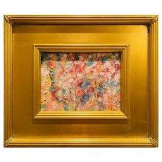 """Abstract Impasto Landscape"", Original Oil Painting by artist Sarah Kadlic, 12"" Gilt Leaf Wood Frame"