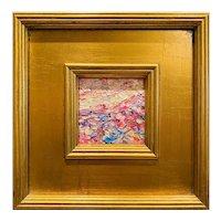 """Abstract Impasto Palette"", Original Oil Painting by artist Sarah Kadlic, 12"" Gilt Leaf Frame"