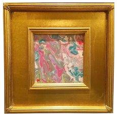 """Abstract Pink & Aquas Marbling"", Original Acrylic Painting by artist Sarah Kadlic, 12"" Gilt Gold Frame"