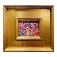 """Impressionist Impasto Floral"" Original Oil Painting by artist Sarah Kadlic, 14"" Gilt Leaf Wood Frame"