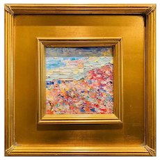 """Abstract Impasto Seascape"", Original Oil Painting by artist Sarah Kadlic, 12x12"" Gilt Leaf Wood Frame"